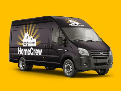 HomeCrew branded van brand identity logo design vector