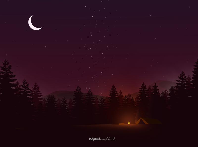 Night Camp vector earth design illustration