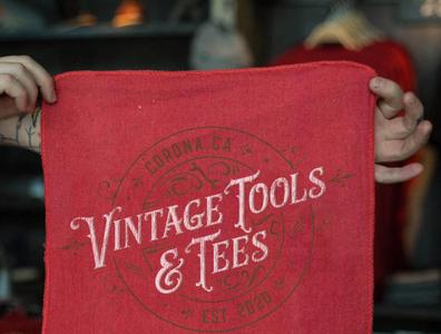 Vintage Tools & Tees Shop Rag mockup red towel shop rag type weathered tools decay vintage logo vintage typography logo font design branding