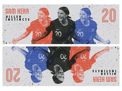SAM KERR soccer halftone futbol australia bitmap graphic design football
