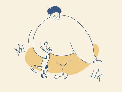Boy with a dog play picnic boy dog cute app design branding design vector illustration