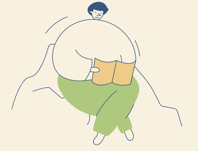 Reading boy picnic book boy cute app design branding design vector illustration
