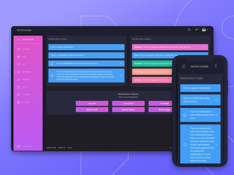 Black Dashboard 🌌 bootstrap 4 bootstrap responsive mobile states style menu bar sidebar purple gradient gradient design notification dashboard freebie free admin dashboard admin template admin design