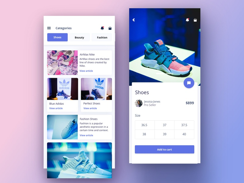 Argon PRO React Native mobile ui shoe card design tag design tags articles screens app android ios react native product page mobile design