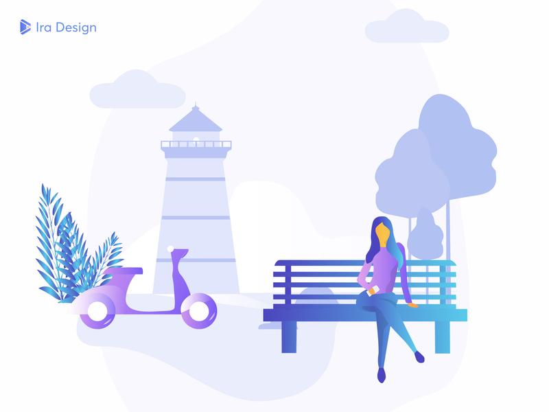IRA Design sketch vector illustrator nature wait women bank tower motorcycle gradient draw freebie free ui kit design illustration web design