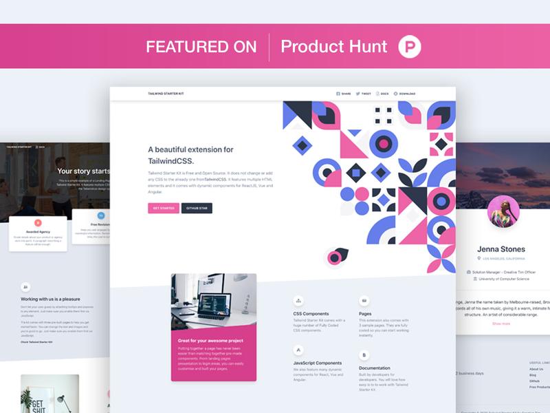 Tailwind Starter Kit ui ui kit responsive web development web design presentation profile page category vote landing pattern product hunt product tailwindcss freebie free