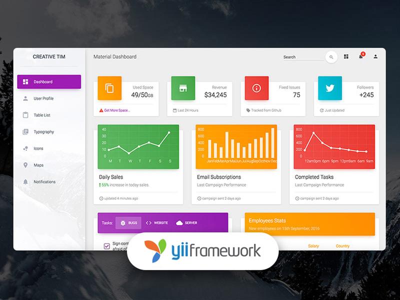 Material Dashboard Yii2 php dashboard design admin design admin template table dailyui freebie chart framework material design ui free responsive web design dashboard