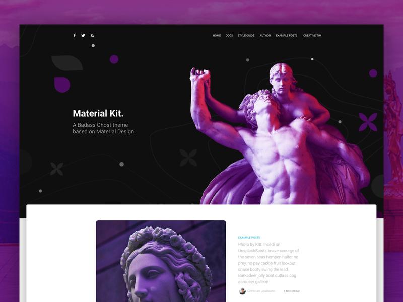 Material Kit Ghost design responsive web design kit profile gradient statue dailyui article blog landing page landing freebie freebies free material design material ui
