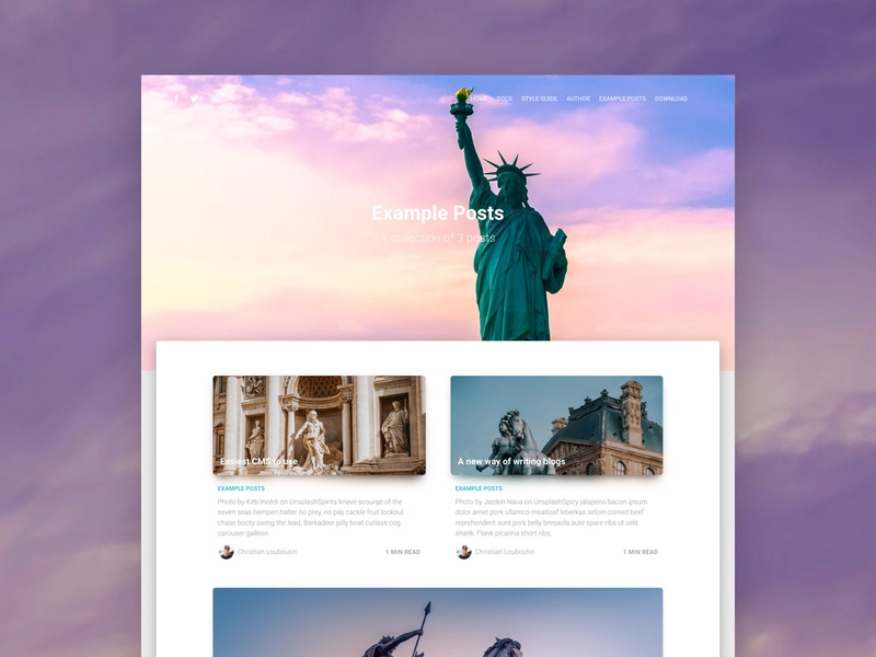 Material Kit Ghost article page page layout page design example freebie post blog statue design ghost material design ui free responsive web design