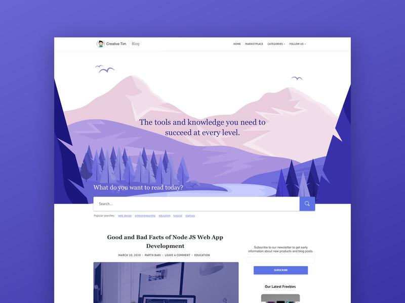 Blog Concept concept inspiration blog post blog design search daily dailyui article blog gradient illustration ui kit ui responsive web design bootstrap 4