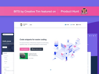 BITS by Creative Tim responsive elements ui design cards bootstrap web design development code freebies free product hunt open source open snippets snippet bits
