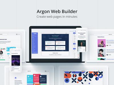 Argon Web Builder web builder teamwork edit live html system design bootstrap 4 code blocks drag and drop builder free responsive web design