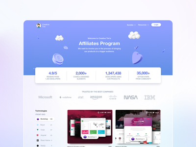 Affiliate Page - Comming Soon gradient development comming soon three-dimensional stats example designer glass glassmorphism 3d landing design landing page company inspiration design responsive web design