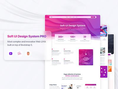 Soft UI Design System PRO innovative typography 3d glassmorphism inspiration ui  ux kit button input alert blog card block design component web design responsive gradient landing bootstrap