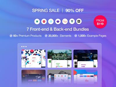 Spring Sale | 7 Front-end & Back-end Bundles | 90% OFF web design system design temple kit admin panel dashboard discount offer development code react native laravel bootstrap react angular vue bundle campaign sale