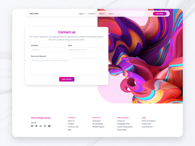 Soft UI Design System - Contact Us html soft design system design ux ui daily inspiration footer button gradient 3d input contact page contact form contact us glass glassmorphism responsive web design