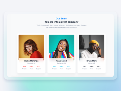 Soft UI Design System PRO - Team glassmorphism typography gradient bootstrap code projects people company author block components design system kit web design design card profile dailyui example team