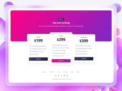 Soft UI Design System PRO - Pricing Page price tag design system code web development ux  ui uidesign kit pricing card card footer glassmorphism 3d gradient button daily inspiration example pricing page webdesign design