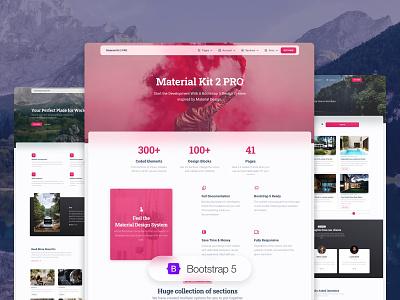 Material Kit 2 Pro vr faq contact us about us profile blog article desktop app rental presentation ux ui kit illustration design gradient responsive web design bootstrap 5
