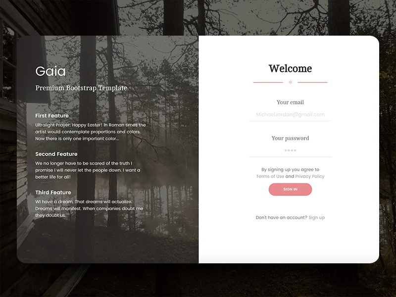 gaia login page by creative tim dribbble dribbble