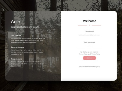 Gaia Login Page By Creative Tim Dribbble