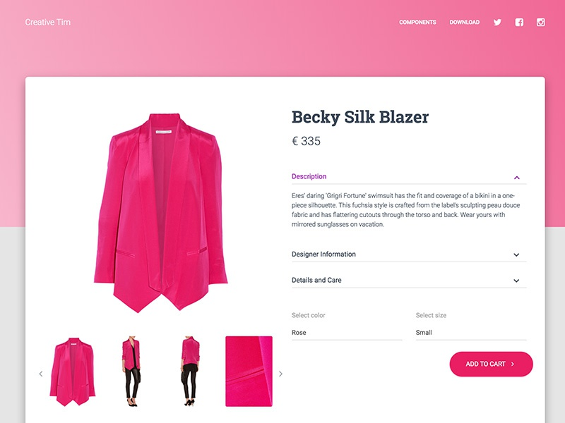 Material Kit PRO - Product Page by Creative Tim on Dribbble