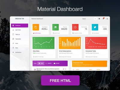 Material Dashboard - Free Bootstrap Material Admin material admin material design free admin template free dashboard freebie bootstrap dashboard material dashboard