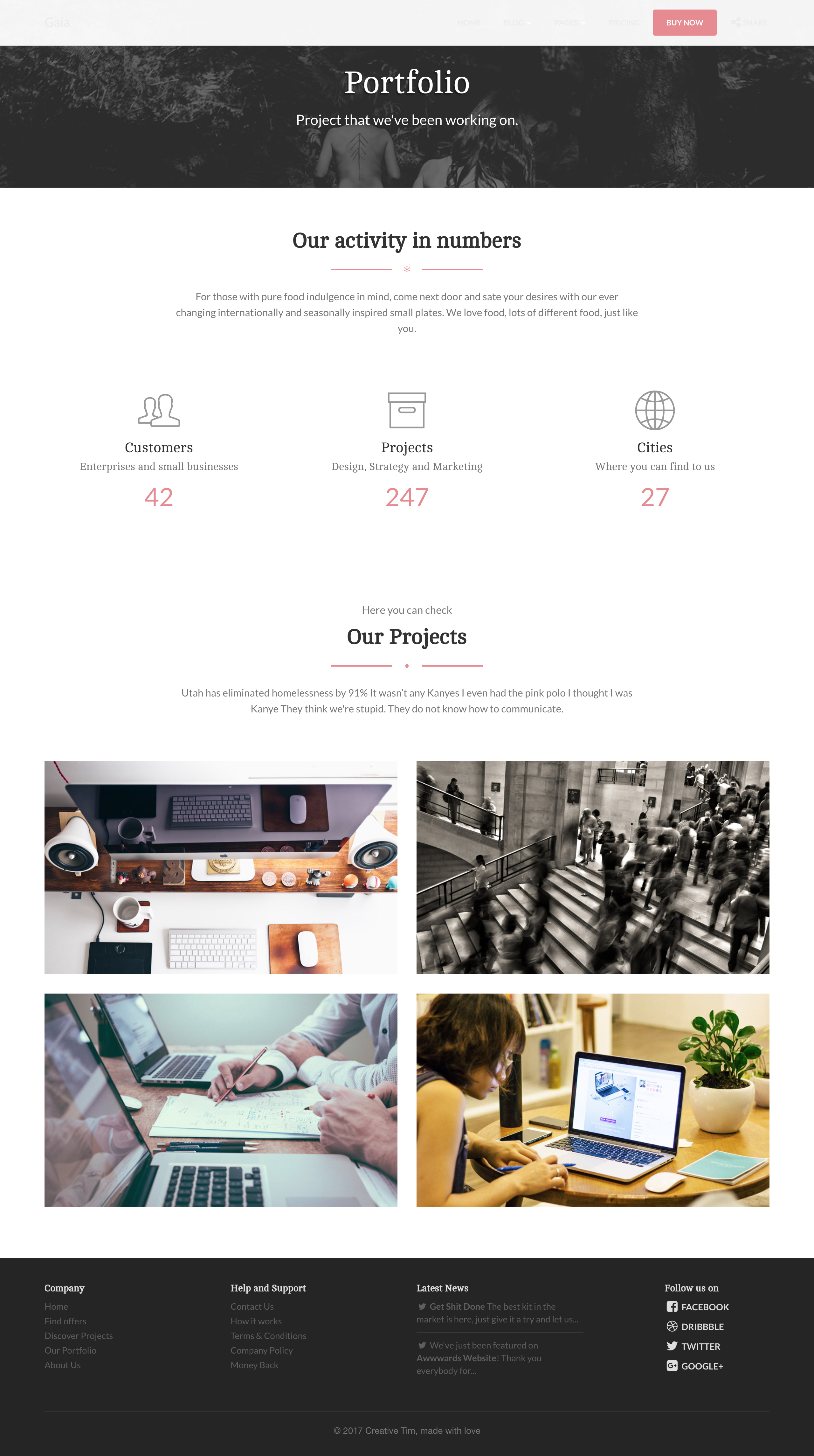 Creative Tim / Projects / Gaia Bootstrap Template | Dribbble