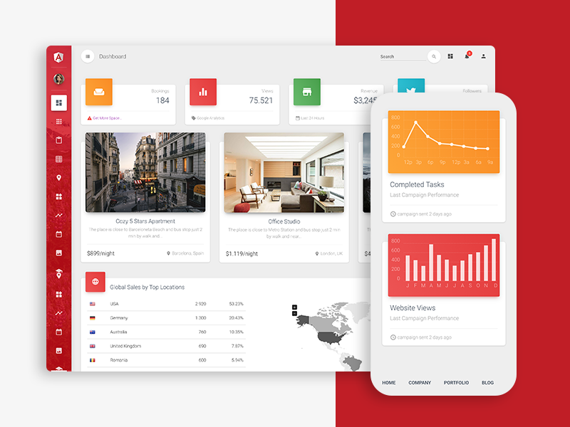Material Dashboard Pro Angular 4 CLI by Creative Tim on Dribbble