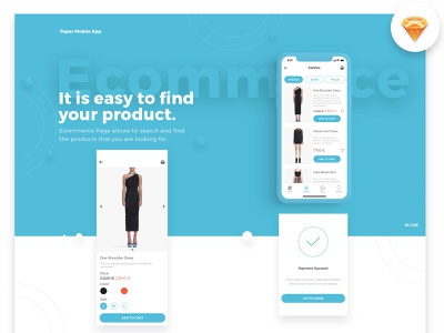 Paper UI Mobile Kit ecommerce shop design payment add to cart clothes free sketch price price list