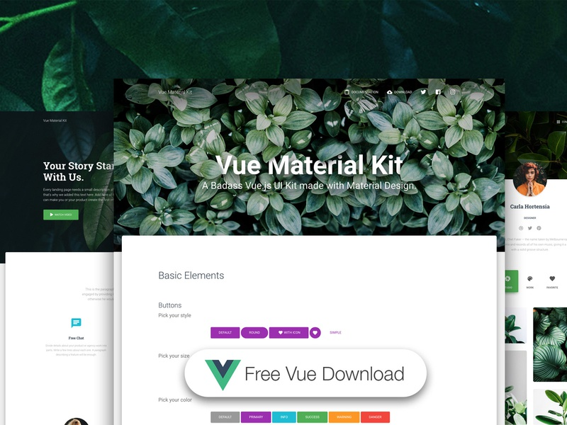 Vue Material Kit Free 🌿 by Creative Tim on Dribbble