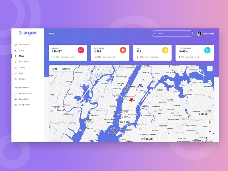Argon Dashboard Free bootstrap 4 html 5 admin free side bar gradient card map dashboard