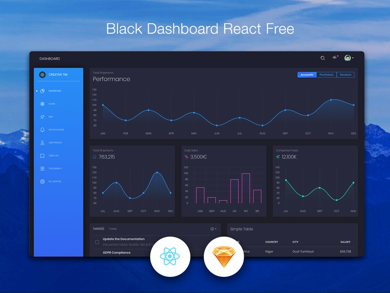 Black Dashboard React gradient icon map chart free dashboard sketch react