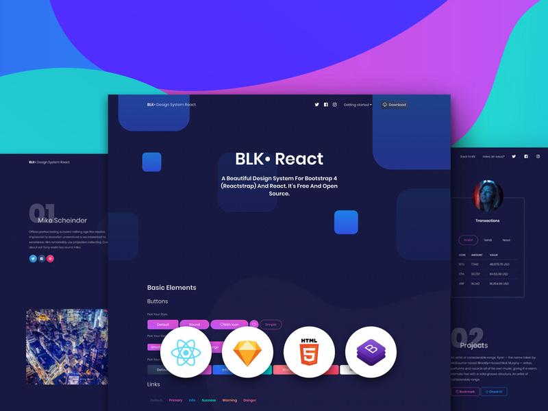 BLK • Design System React button design gradient profile design landing page kit free backgrounds html 5 sketch react.js bootstrap 4