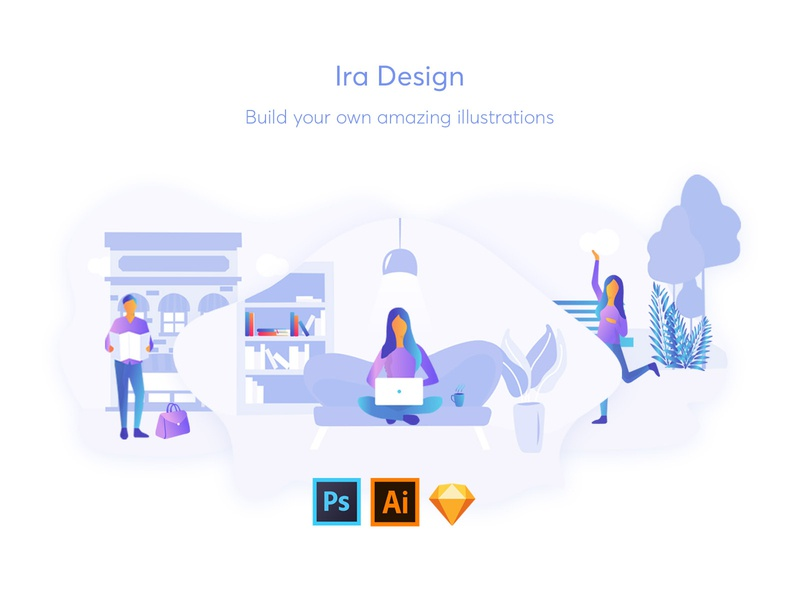 IRA Design customizable free background object character sketch gradient illustration