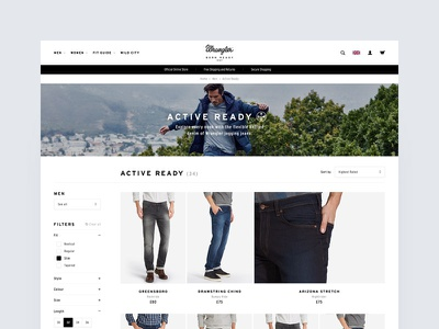 Wrangler Europe FW16 – PLP plp filters grid product listing page denim jeans wrangler ecom