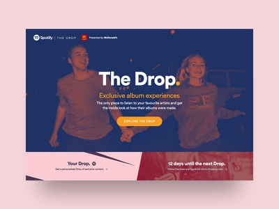 Spotify | The Drop (Pitch) – Landing content drops albums artist music microsite spotify