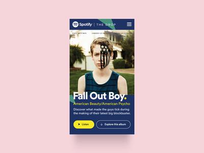 Spotify   The Drop (Pitch) – Album Detail fall out boy album mobile listen spotify microsite music artist content drops