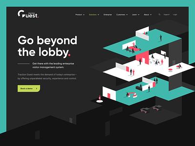 Visitor management platform redesign isometric dark contemporary minimal visitor management branding ui illustration design