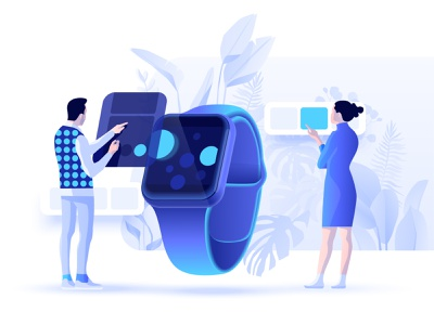 iwatch concept contemporary illustration character minimal interface app iwatch illustraion branding