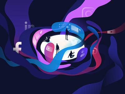 Social media feed twitter facebook instagram feed data online socialmedia design dark contemporary isometric illustration