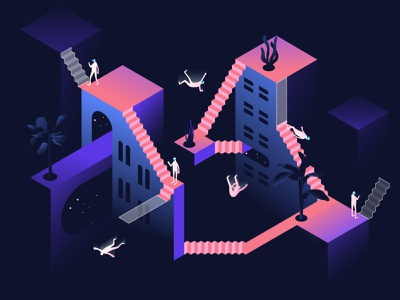 Virtual reality gaming people characters gradients exploration space virtual reality vr vector minimal design contemporary isometric illustration