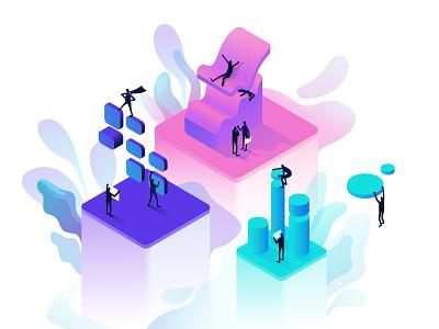 Data playground data visualization processing analytics data contemporary branding vector isometric design minimal illustration