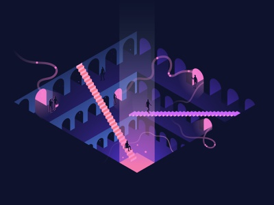 Data coliseum data analytics vector enterprise isometric dark contemporary minimal illustration