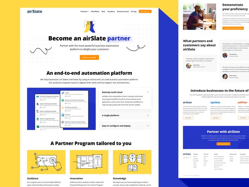 airSlate | Become a partner partnership people interface clean blue yellow hand partner minimal design web ui design uidesign ui illustraion landing page landing web design webdesign website