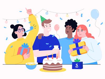 Birthday Illustration celebration celebrate mood festive boy girl illustraion cake present gift happy birthday party birthday party birthday cake birthday