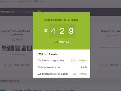 Report Card money score modal ui flat derp green dashboard