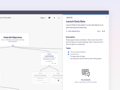 Poda startup sidebar launch roadmap project ui dashboard