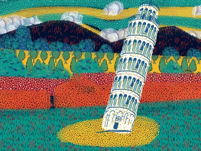 Leaning Tower of Pisa music video illustration animation