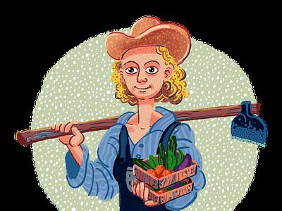 The farmer girl, Illustration from psycholocial profile theme. farmer illustration